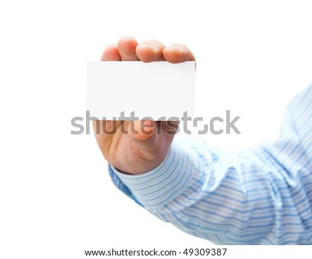 Pure white card in man's hand - stock photo