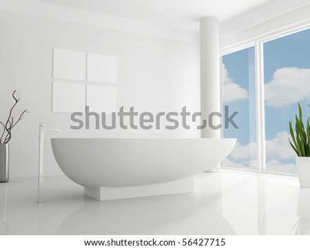 pure white minimalist bathroom the sky on back ground is a my photo - stock photo