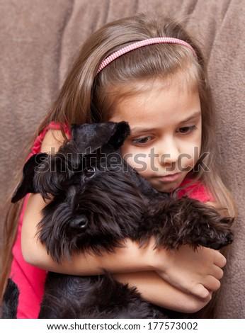 Purebred puppy miniature schnauzer and little girl - stock photo