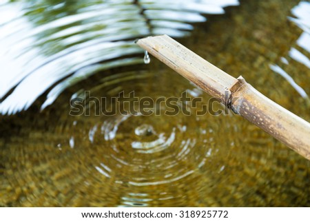 Purification fountain at a shrine with a bamboo pipe