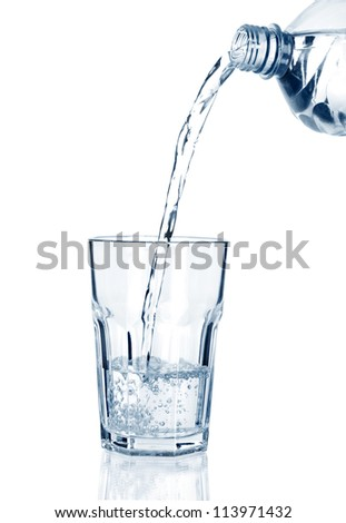 puring water on a glass on white background