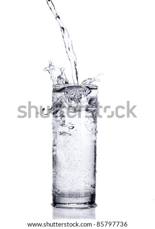 puring water on white background