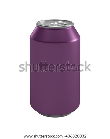 Purle metallic can isolated on white background.3D illustration