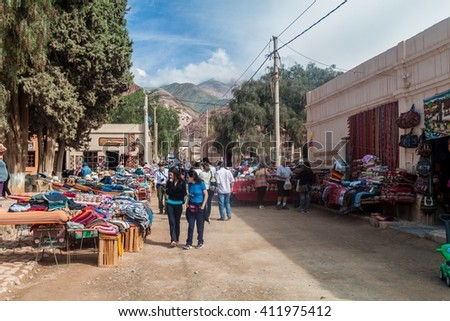 PURMAMARCA, ARGENTINA - APRIL 11, 2015: Traditional handmade products for sale on a market in Purmamarca village, Argentina
