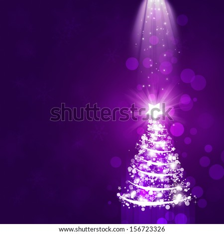 purple abstract christmas celebration background with tree and snowflakes - stock photo