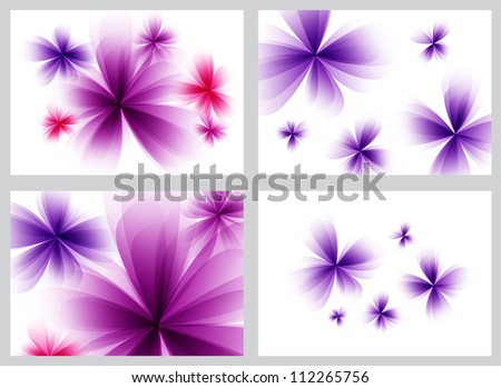 Purple abstract floral backgrounds set - raster version - stock photo