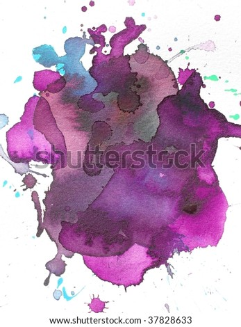purple and blue abstract paint background splash - stock photo
