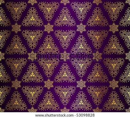 Purple and gold seamless arabesque (jpg); vector version also available - stock photo