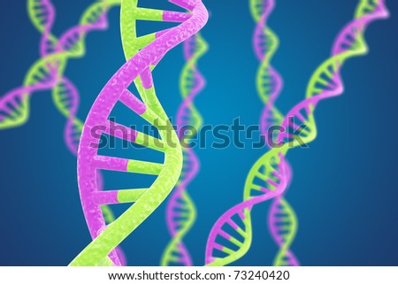 Purple and green DNA helices on a blue background with shallow DOF - stock photo
