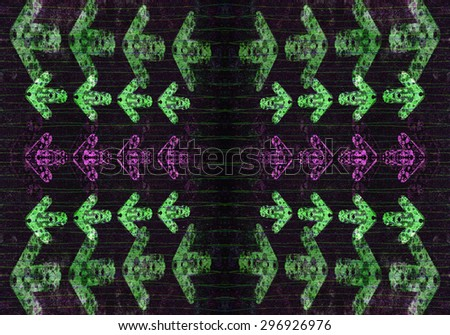 Purple and green grunge arrows and lines on a rough black background - stock photo