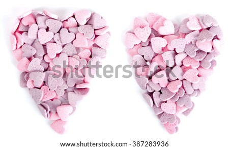 Purple and pink candy hearts shaped in a heart - stock photo