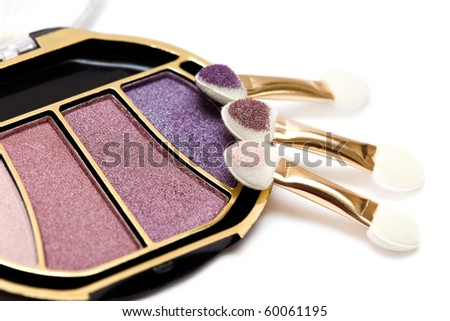 purple and pink make-up eyeshadows - stock photo