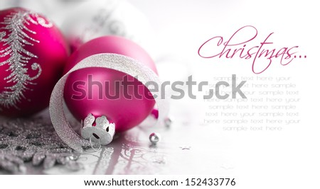 Purple and silver xmas decoration with copy space. Merry christmas! - stock photo