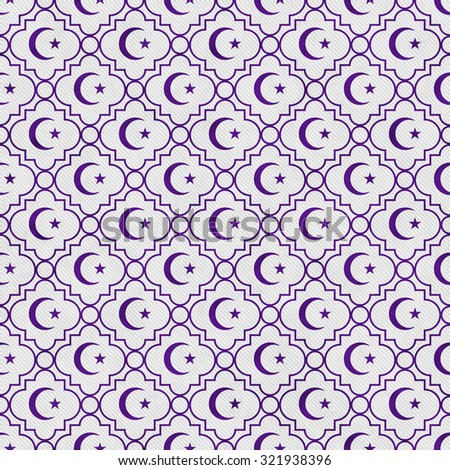 Purple and White Star and Crescent Symbol Tile Pattern Repeat Background that is seamless and repeats - stock photo