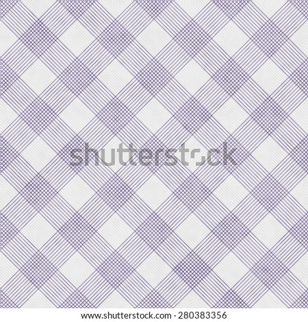 Purple and White Striped Gingham Tile Pattern Repeat Background that is seamless and repeats - stock photo