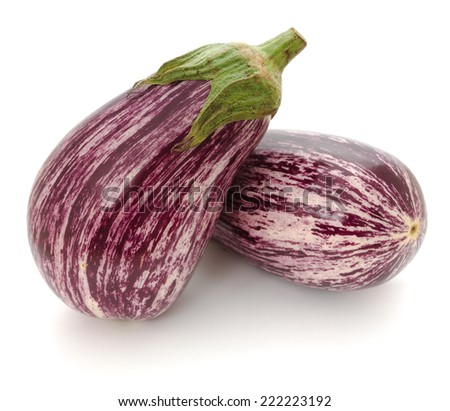 """Purple and white variegated eggplant cultivar """"Nubia"""" with green calyx - stock photo"""