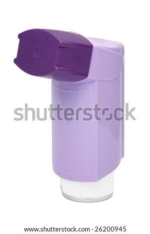Purple asthma inhaler isolated on a white background - stock photo