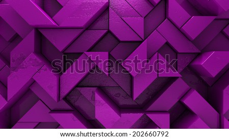 Purple background with perspective and volume. Futuristic straight lines forming pattern. High quality 3d render. - stock photo