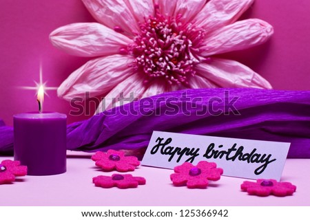 purple background with text happy birthday - stock photo