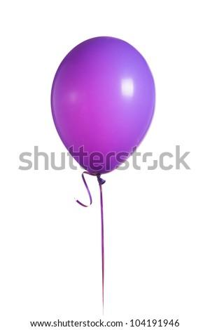 purple balloon isolated on white - stock photo