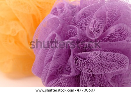Purple bast whisp with a yellow one in the background - stock photo