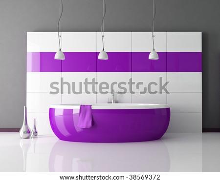 purple bathtub in a minimal contemporary bathroom - rendering - stock photo