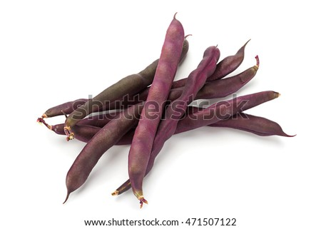 Purple bean closeup isolated on white background