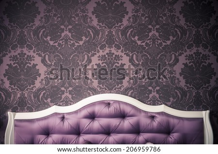 purple bedroom interior,  luxurious bed. - stock photo