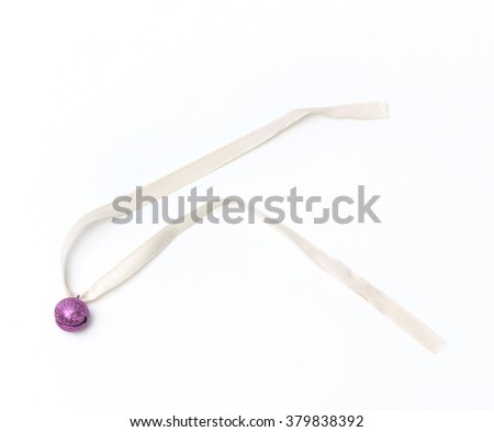 purple bell and cream ribbon on white background