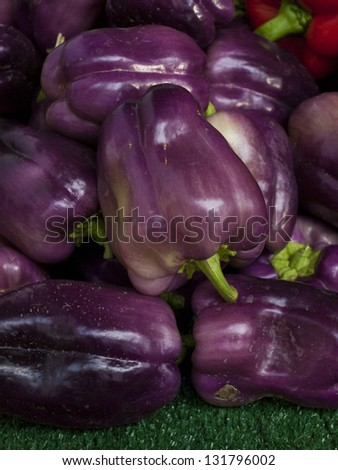 Purple bell peppers at the local farmer's market. - stock photo