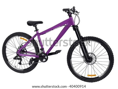 Purple bike detail isolated on black background