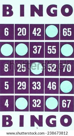 Purple bingo card being used (white chips) - stock photo