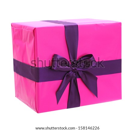 purple bow on pink gift box isolated  on white