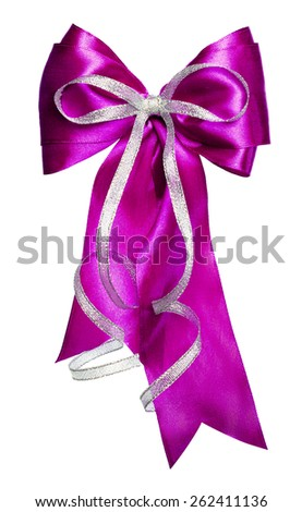purple bow with silver ribbon made from silk isolated - stock photo