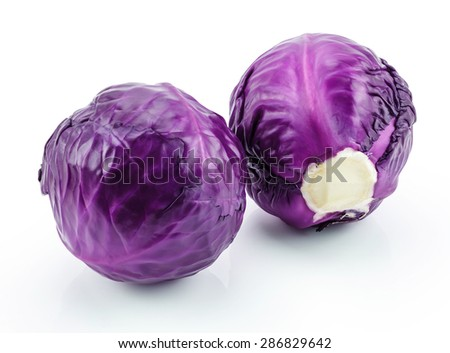 Purple cabbages isolated on white background - stock photo