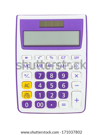 Purple calculator isolated on a white background - stock photo