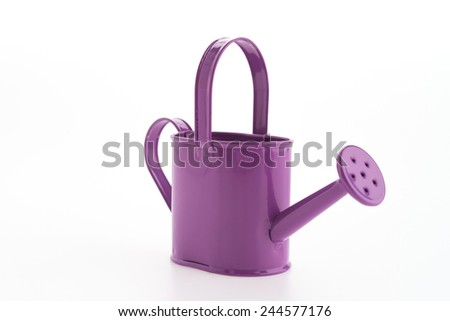 Purple can watering isolated on white background - stock photo