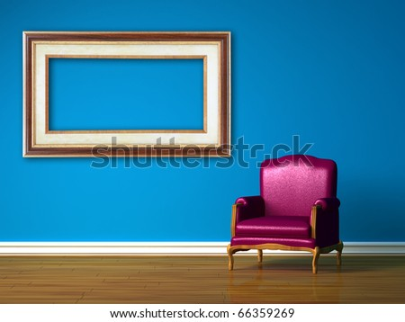 Purple chair with empty frame in blue minimalist interior - stock photo