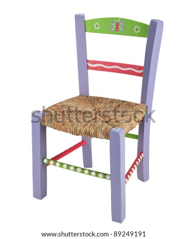 purple children chair isolated on white background - stock photo