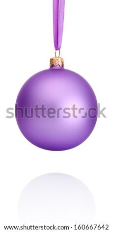 Purple Christmas ball hanging on ribbon Isolated on white background - stock photo