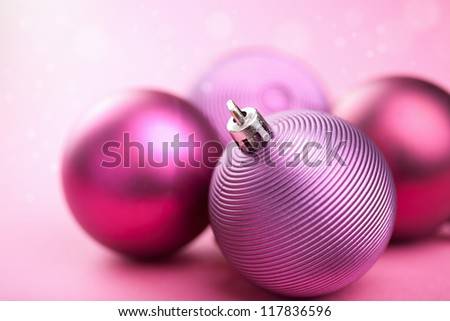 purple christmas balls - stock photo