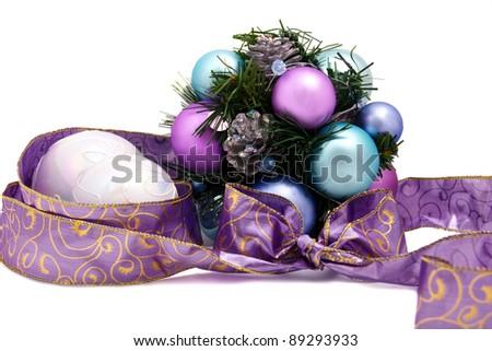 Purple christmas decoration isolated on white - stock photo