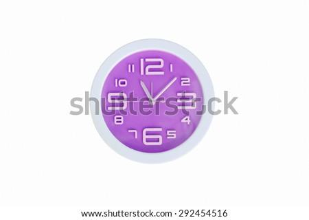 Purple clock isolated - stock photo