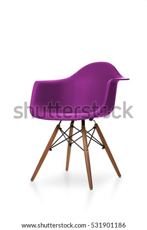 Purple color chair, modern designer chair isolated on white background. Plastic chair