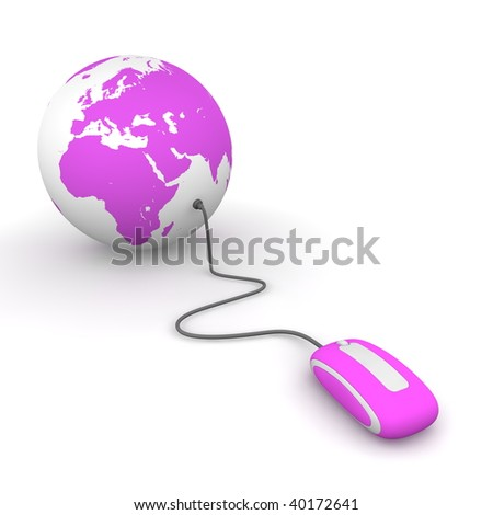 purple computer mouse connected to a purple globe - stock photo
