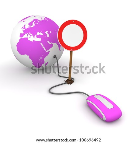 purple computer mouse is connected to a purple globe - surfing and browsing is blocked by a red-white no passing sign that cuts the cable - stock photo