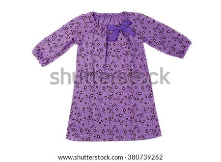 Purple cotton baby dress. Isolate on white. - stock photo