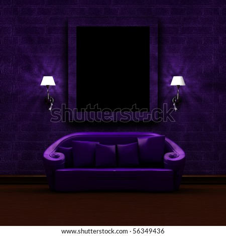 Purple couch with abstract picture frame and sconces in dark minimalist interior - stock photo