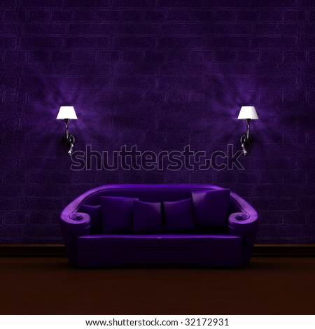 Purple couch with sconces in dark minimalist interior