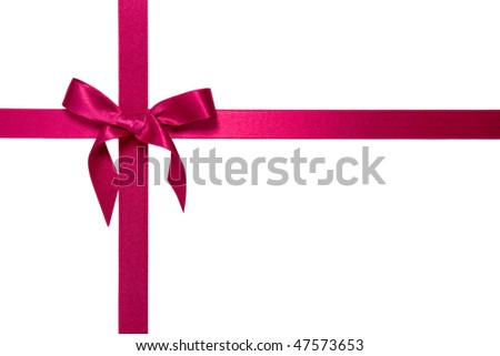 purple cross ribbon with bow isolated on white